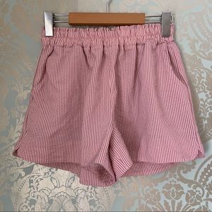 Shein Paperbag High Waisted Pink Striped Shorts